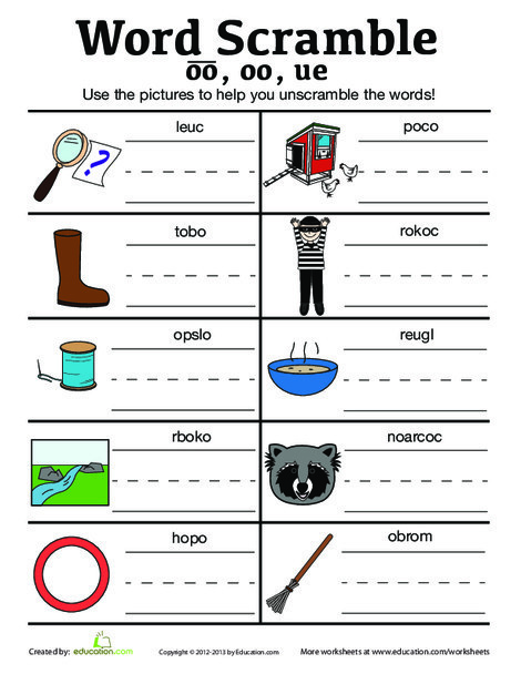 First Grade Reading & Writing Worksheets: Vowel Sounds Scramble