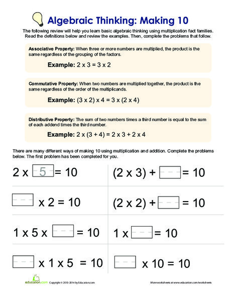 Fourth Grade Math Worksheets: Making 10