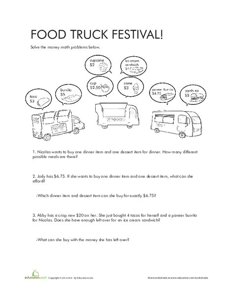 Fourth Grade Math Worksheets: Money Math Problems: Food Truck Festival!