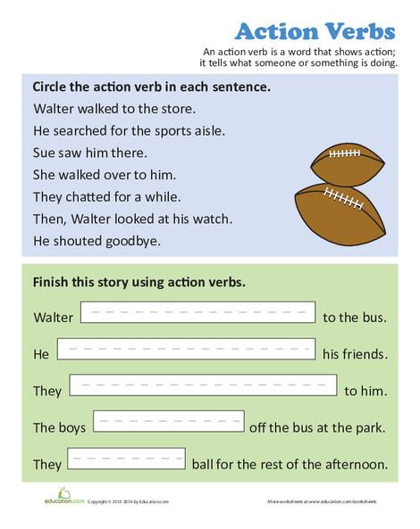 Third Grade Reading & Writing Worksheets: Using Action Verbs