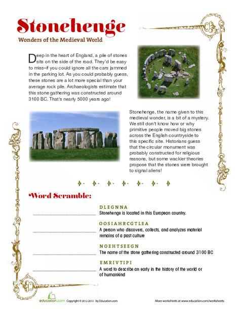 Fourth Grade Reading & Writing Worksheets: Stonehenge
