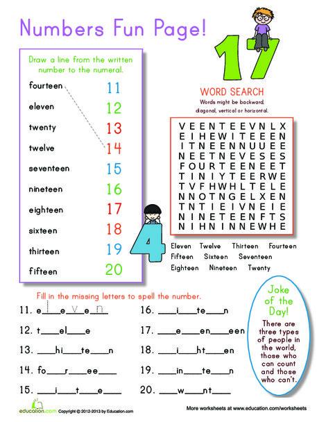 Kindergarten Math Worksheets: Number Practice 11-20