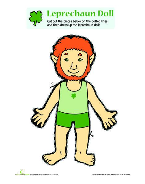 Kindergarten Holidays Worksheets: Leprechaun Doll