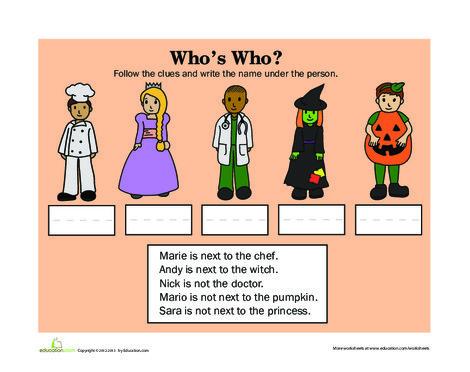 Kindergarten Reading & Writing Worksheets: Who's Who: Halloween
