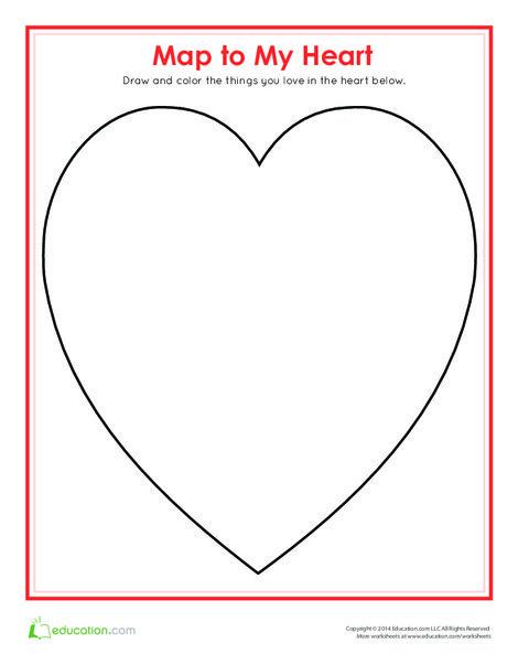 Third Grade Holidays Worksheets: Map of My Heart