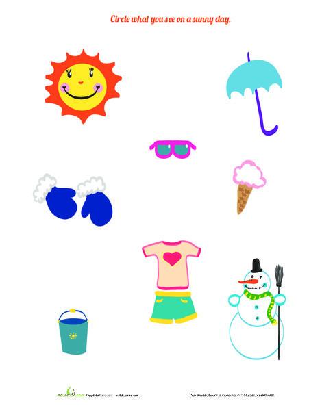 Preschool Science Worksheets: Sunny Day!