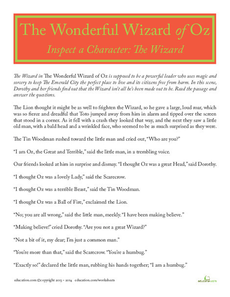 Fourth Grade Reading & Writing Worksheets: The Wizard in The Wizard of Oz