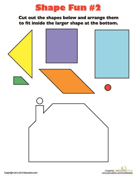 Kindergarten Math Worksheets: Play with Shapes 2