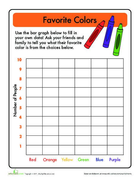 First Grade Math Worksheets: Bar Graphs: Favorite Color