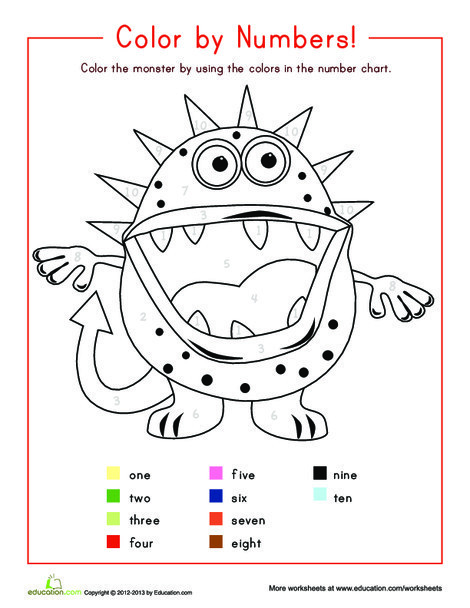 Kindergarten Math Worksheets: Color by Number 1-10