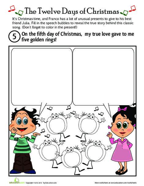 First Grade Holidays Worksheets: On the Fifth Day of Christmas