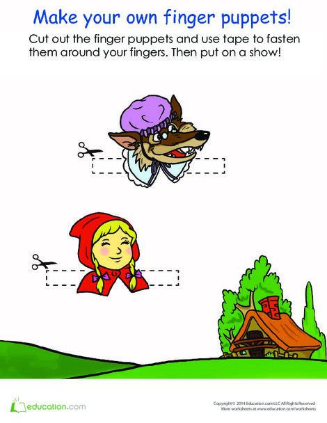 Kindergarten Arts & crafts Worksheets: Little Red Riding Hood Finger Puppets