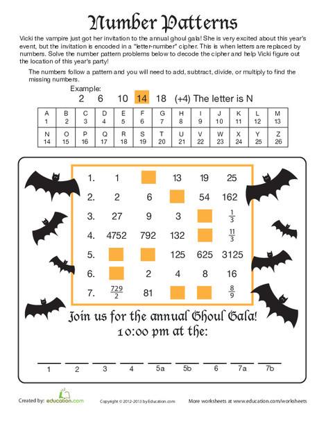 Fifth Grade Holidays Worksheets: Number Patterns