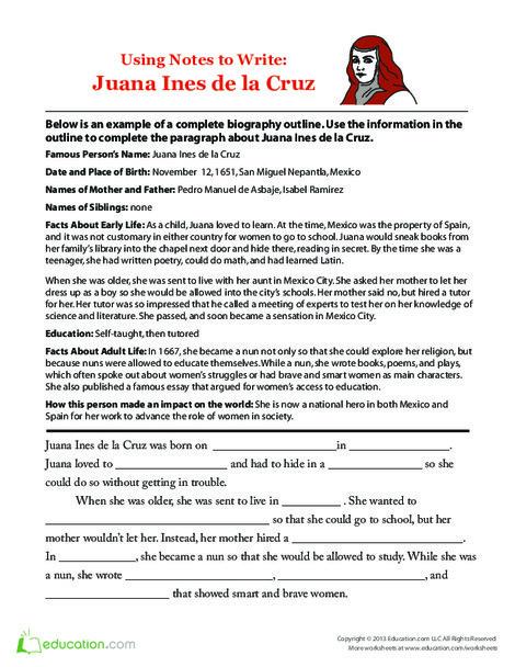 Second Grade Reading & Writing Worksheets: Sor Juana Ines de la Cruz