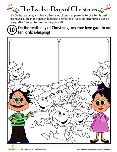First Grade Holidays Worksheets: On the Tenth Day of Christmas