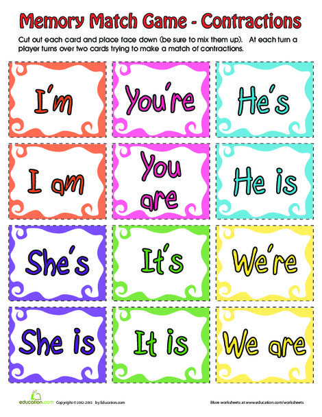 Second Grade Reading & Writing Worksheets: Contraction Matching Game