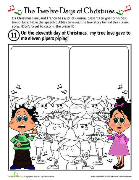 First Grade Holidays Worksheets: On the Eleventh Day of Christmas