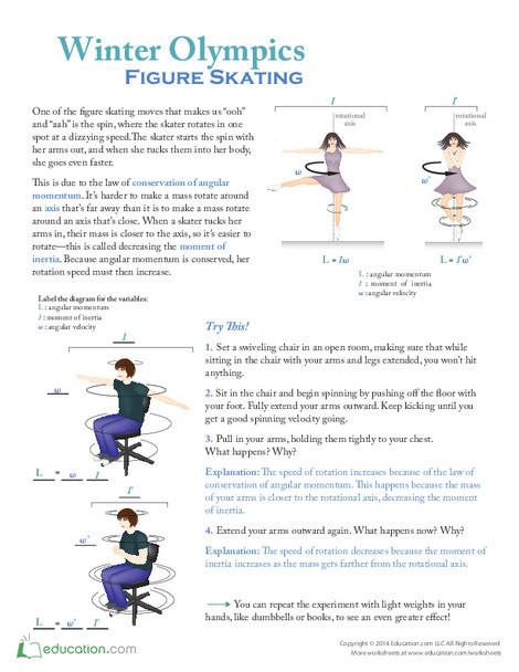 Fifth Grade Science Worksheets: Winter Olympics: Figure Skating