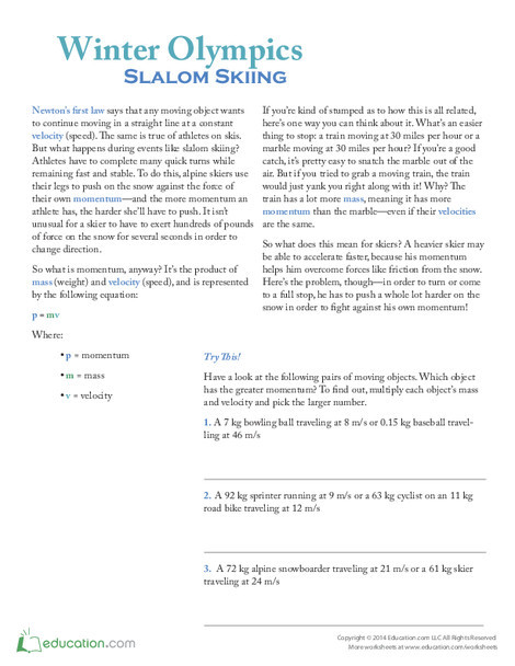 Fifth Grade Pop culture and events Worksheets: Winter Olympics: Slalom Skiing