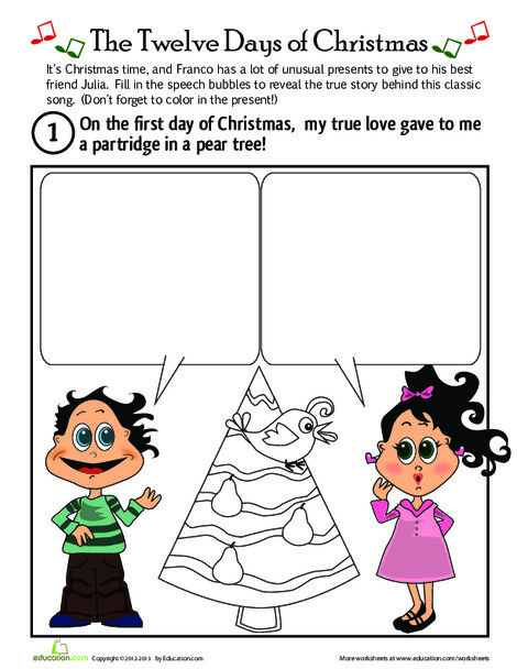 First Grade Holidays Worksheets: On the First Day of Christmas