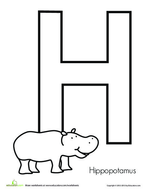 Preschool Reading & Writing Worksheets: H is for Hippopotamus