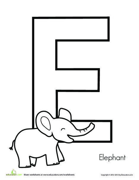 Preschool Reading & Writing Worksheets: E is for Elephant