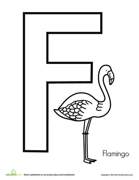 Preschool Reading & Writing Worksheets: F is for Flamingo