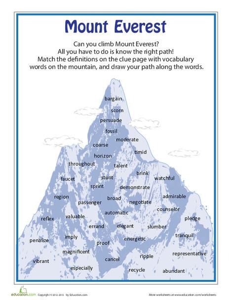 Fourth Grade Reading & Writing Worksheets: Mount Everest Vocabulary