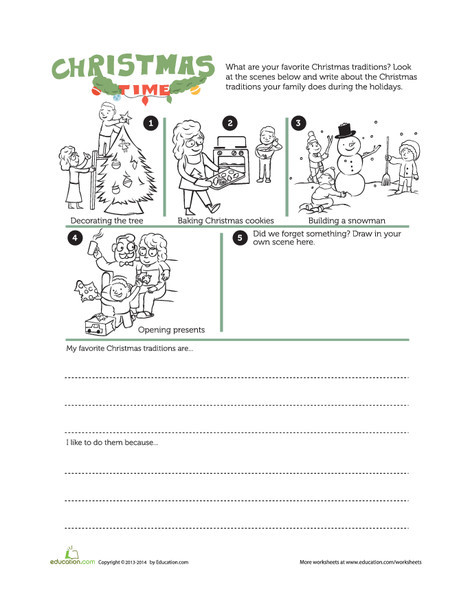 First Grade Reading & Writing Worksheets: Christmas Traditions