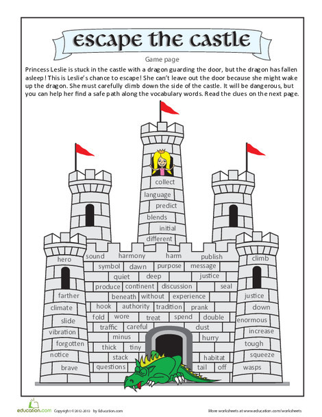 Fourth Grade Reading & Writing Worksheets: Escape the Castle Vocabulary