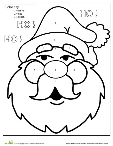 Kindergarten Holidays Worksheets: Color by Number: Santa