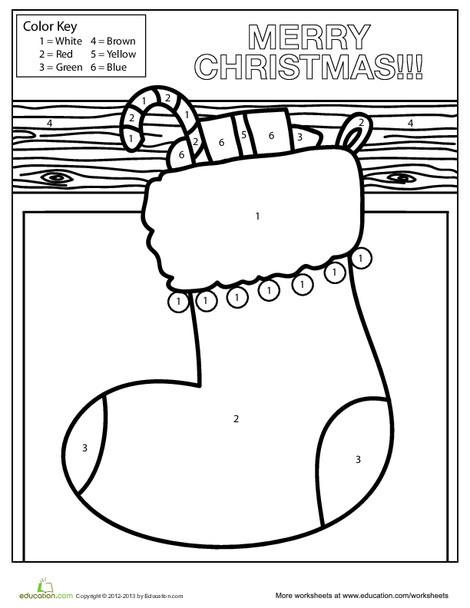 Kindergarten Holidays Worksheets: Christmas Stocking Color-by-Number