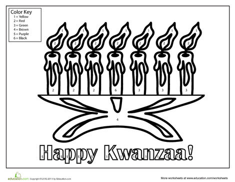 First Grade Holidays Worksheets: Kwanzaa Coloring Page