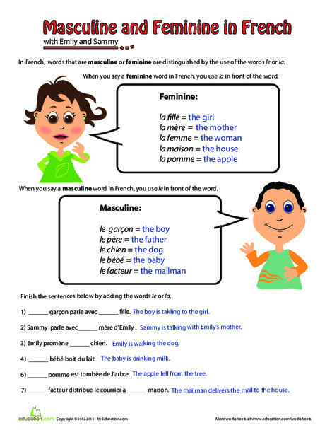 Fourth Grade Foreign language Worksheets: Masculine and Feminine in French