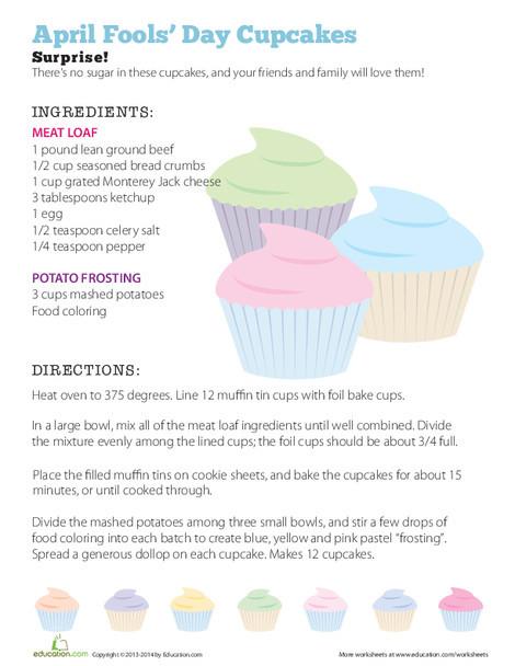 Third Grade Seasons Worksheets: April Fools Cupcakes