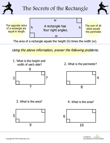 Fourth Grade Math Worksheets: Area and Perimeter of a Rectangle