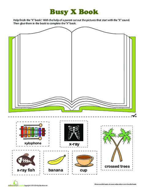 Preschool Reading & Writing Worksheets: X Book