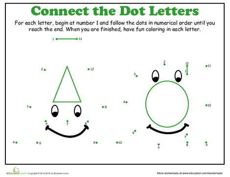 Kindergarten Math Worksheets: Dot-to-Dot Alphabet: A