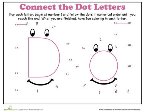 Kindergarten Math Worksheets: Dot-to-Dot Alphabet: D