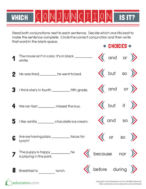 First Grade Reading & Writing Worksheets: Conjunction Practice