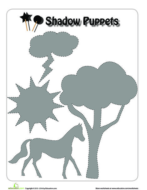First Grade Arts & crafts Worksheets: Horse Shadow Puppet