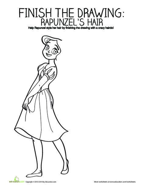Kindergarten Coloring Worksheets: Draw Rapunzel's Hair