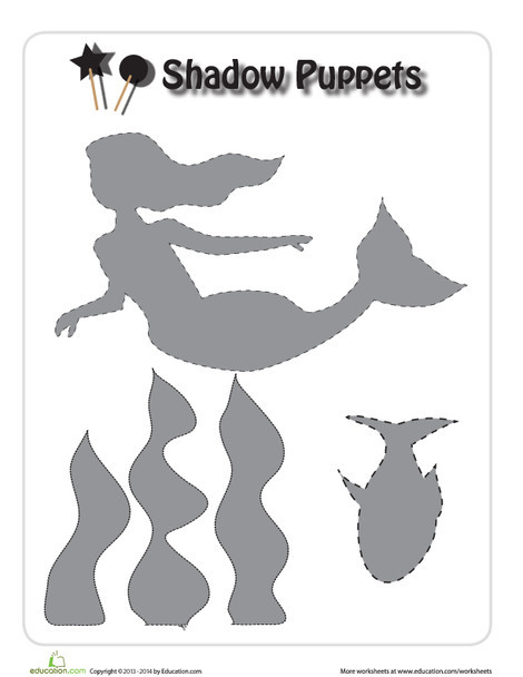 First Grade Arts & crafts Worksheets: Sea Creature Shadow Puppets