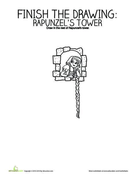 Kindergarten Coloring Worksheets: Finish the Drawing: Rapunzel's Tower