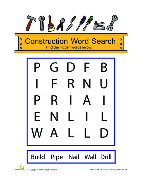 Kindergarten Offline games Worksheets: Construction Word Search