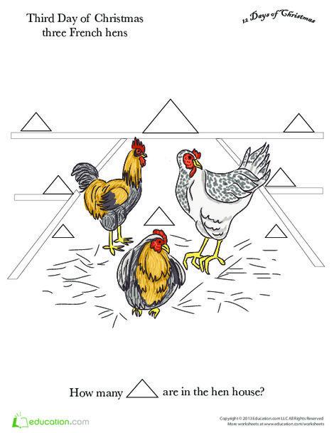 Preschool Math Worksheets: Three French Hens
