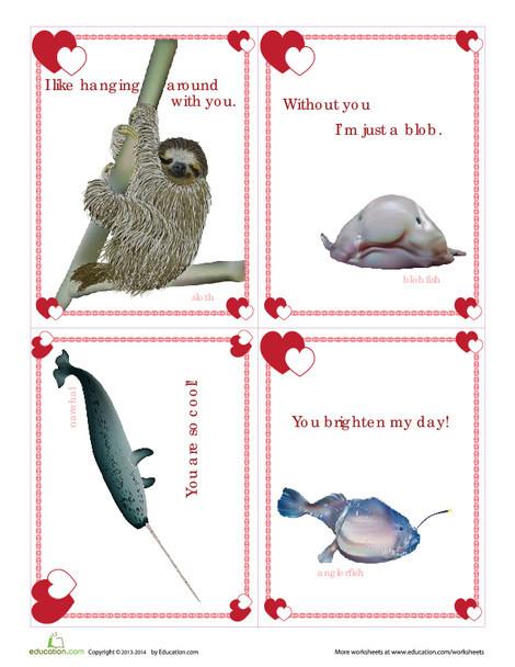 Third Grade Holidays Worksheets: Unusual Animals Valentines