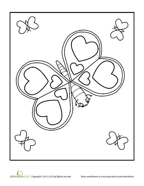 Kindergarten Holidays Worksheets: Valentine's Day Butterfly Coloring Page