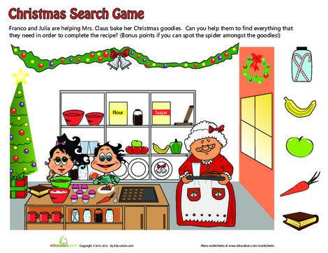 Kindergarten Holidays Worksheets: Christmas Ingredients