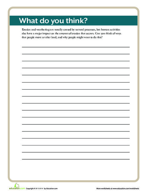 Third Grade Science Worksheets: Landform Writing Activity